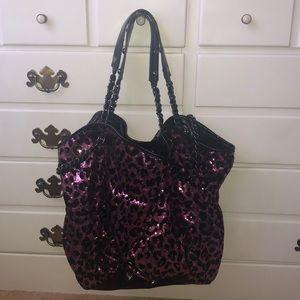Betsey Johnson leopard print sequin bag